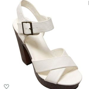 White Women's Chunky Heel Sandals
